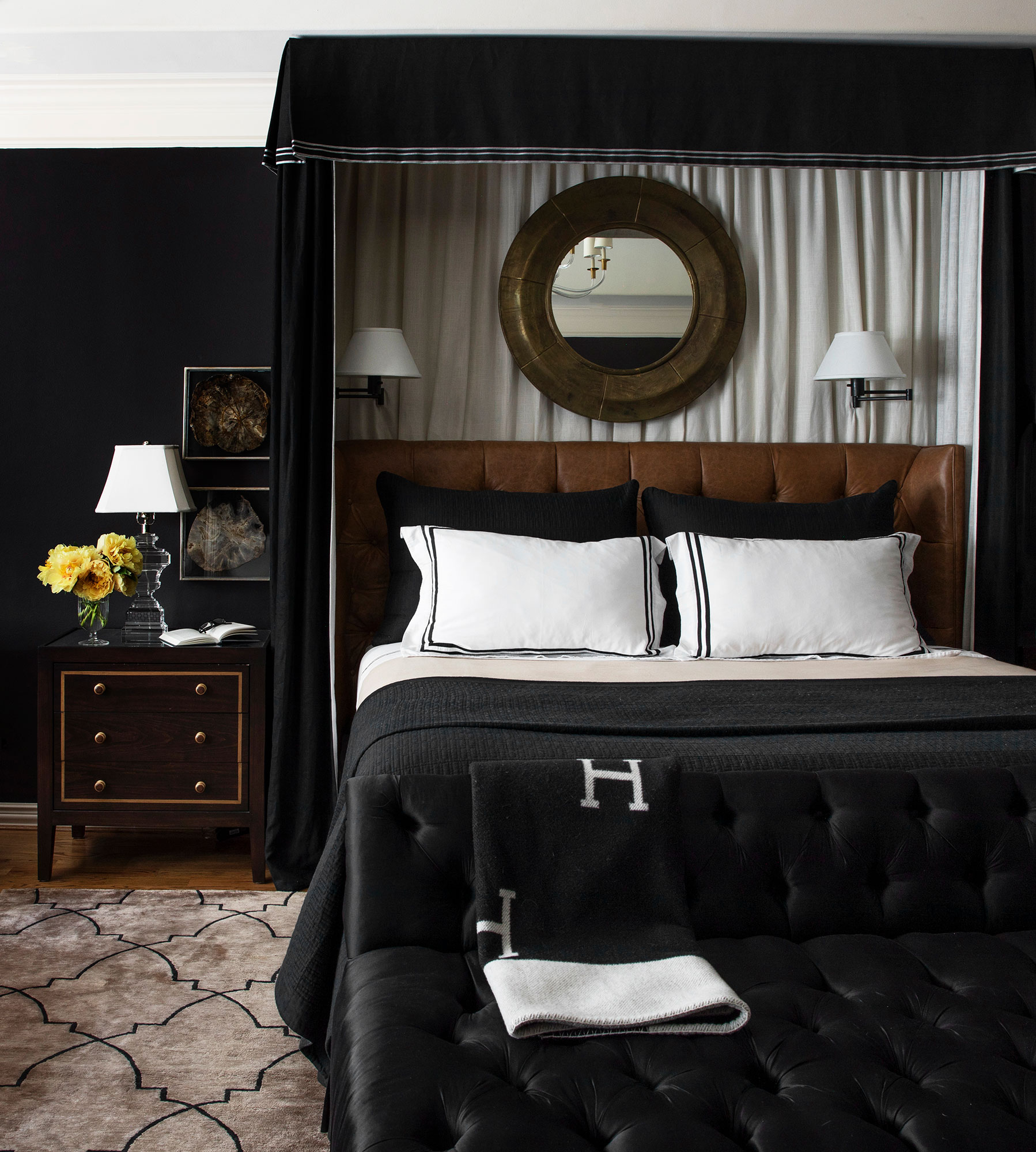 Black bedroom Interiors Photography - Julie Soefer Photography