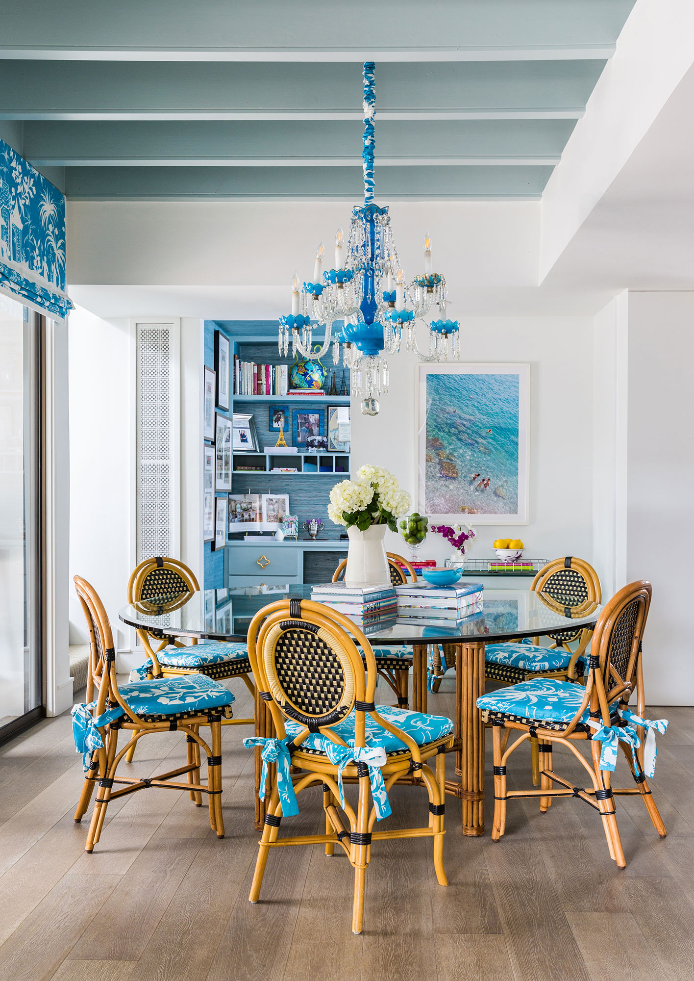 Dining Table Blue Interiors Photography - Julie Soefer Photography